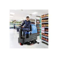 容恩大型电动双刷洗地车R125BT85工厂用充电式全自动盘刷清洗车