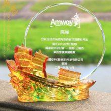 上海琉璃退休摆件定做 退休工艺品定制工厂 员工退休送什么纪念品好呢