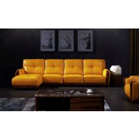 知行堂 简约现代活力时尚黄小户型高仿真皮沙发红木底架进口松木内架 客厅沙发 F008
