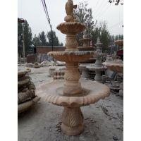 多红雕塑石雕欧式喷泉黄锈石、晚霞红、大理石喷泉水景别墅园林广场庭院小区流水摆件