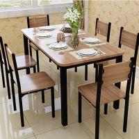 定制餐厅餐桌简约钢木快餐桌椅组合客厅家具家用吃饭桌椅一件代发