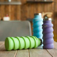 定制硅胶折叠水壶 可伸縮旅行水杯 摔不破便携折叠运动水壶