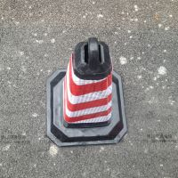 博辽警示70cm橡胶方锥路障雪糕筒车位提环反光路锥桶交通禁止停车