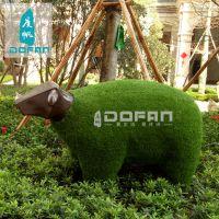 度帆园林草坪小羊披草玻璃钢雕塑 动物雕塑 户外草皮羊玻璃钢雕塑