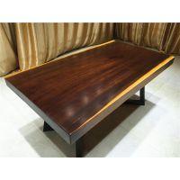 供应明典奥坎整体自然边全方边古典实木大板桌,办公桌,茶桌,会议桌,画桌,餐桌