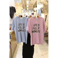 义乌工厂便宜清货女式T恤夏季短袖便宜女士上衣纯棉t恤圆领短袖1元批发