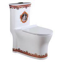 新品陶瓷卫浴彩金欧式彩色抽水座便器马桶