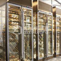 臻晶美厂家定制酒庄不锈钢恒温酒柜 别墅高档不锈钢玻璃酒柜装饰工程