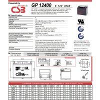 CSB蓄电池GP12400/12V40Ah