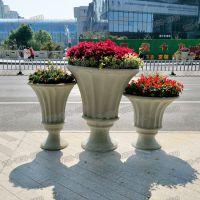 现货大型时尚创意玻璃钢花盆欧式玻璃钢石头漆花钵路边美陈花器定制