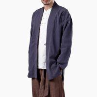 宸贤中国民族风苎麻男式立体盘扣舒适棉麻复古长袖男茶服唐装上衣