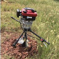 手扶式栽电杆打坑机 施工打孔打桩机 硬土质挖坑机厂家