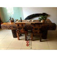 广东实木家具现货老船木茶桌椅组合多功能泡茶桌简约茶几个性茶桌茶台