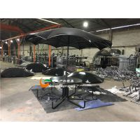室外广场钢制桌凳 户外铁艺制品桌椅 金属休闲桌椅带铁艺伞