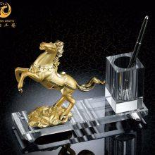上海水晶奖杯制作,水晶一马当先纪念品,商会会员奖品,水晶工艺品定制