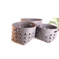 镂空编织篮 毛毡收纳篮 杂物桶玩具窝
