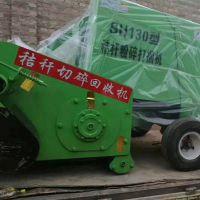 柴油机带动青贮玉米秸秆捡拾粉碎打捆包膜一体机,柴油机打捆机
