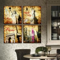 现代装饰画批发 欧美怀旧复古建筑 帆布画 酒吧25mm厚板咖啡厅壁画