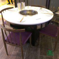 简约现代火锅店圆桌直销 大理石圆桌火锅餐桌椅 餐饮桌椅来图定制