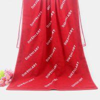 厂家直销外贸出口色织大浴巾 红白双色提花logo 纯棉浴巾定制批发