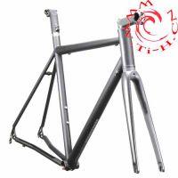 钛合金管,定制钛自行车架,银灰色光泽,钛制配件,超轻量一体式车架