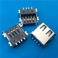 指尖陀螺A母座USB超薄H=4.6mm半包壳SMT全贴片2.0黑胶鱼叉脚贴板 (2)