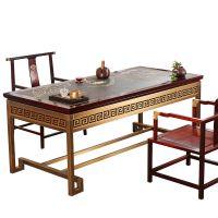碧荷莲香茶桌纯铜家具乌金石实木茶盘新中式铜艺订定制