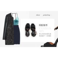 美国时尚女鞋Jeffrey Campbell春夏黑色鱼嘴一字带水钻串珠高跟凉鞋