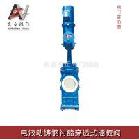 安正阀门-电液动铸钢衬酯穿透式插板阀