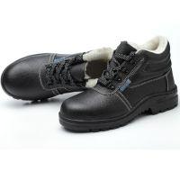 优质牛皮冬季劳保鞋钢头钢底防砸防刺穿高帮内里加绒棉安全鞋