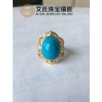 绿松石精美女式戒指,专业定制镶嵌