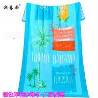 外贸印花浴巾纯棉活性印花沙滩巾 迎春雨沙滩巾印花定制