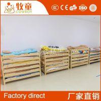 广州牧童幼儿园简约现代午休实木单人床木质叠叠床定制批发
