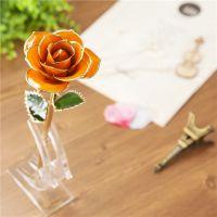 黛雅热销橙色烤漆玫瑰花 天然玫瑰手工制作创意礼物居家装饰摆件厂家直销