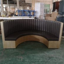 佛山饭店家具订做,中式实木软包弧形卡座沙发