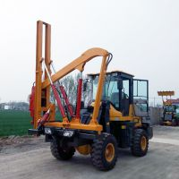 兴安厂家直销 铲车改装护栏打桩机 铲车高速公路打桩机 专业生产各种桩工机械