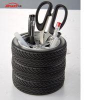 外贸 创意新奇办公圆形收纳笔筒 JT-J16轮胎形工具杂物收纳盒 pvc+五金 仿真轮胎笔筒