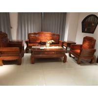 刺猬紫檀广作红木家具国色天香沙发123六件套图片价格