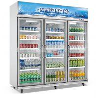 冰友牌厂家供应超市新款双温圆弧玻璃展示柜不锈钢冷柜