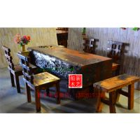 船木餐厅家具餐台餐椅餐台7件套组合奉化餐台红坤老料