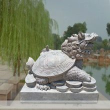 石雕龙龟青石辟邪母子龙头龟霸下大理石水池吐水龙龟赑屃动物喷泉摆件曲阳万洋雕刻厂家定做