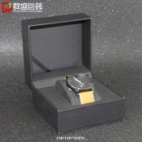 深圳厂家 直角木胚棕色皮革盒 高档手表盒