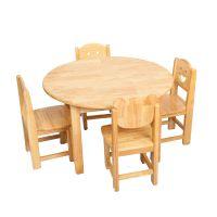 【幼儿园圆桌】山东厚朴 橡木幼儿园圆桌 实木幼教小圆桌