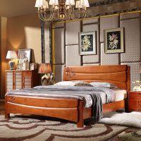 新中式实木床1.5和1.8双人橡胶木酒店家具一件代发