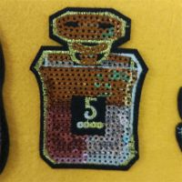卡通香水瓶珠片布贴补丁服装辅料