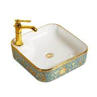 超薄彩金卫生间陶瓷单孔电镀欧式洗手盆洗脸艺术盆