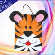全彩印卡通牛皮纸袋 老虎LOGO印刷儿童礼品纸袋 动漫大耳朵棉手提购物袋