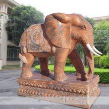 石雕大象晚霞红门口带座招财如意象摆件一对曲阳万洋雕刻厂家现货加定做