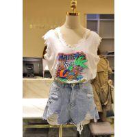 便宜韩版女式T恤库存服装清货便宜地摊货女士短袖杂款时尚女装上衣清