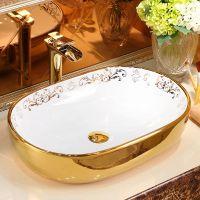 欧式彩金色奢华电镀盆时尚陶瓷艺术盆